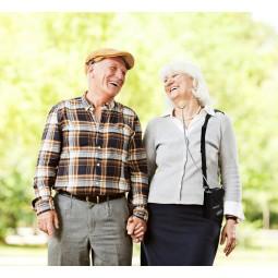 elderly couple outside